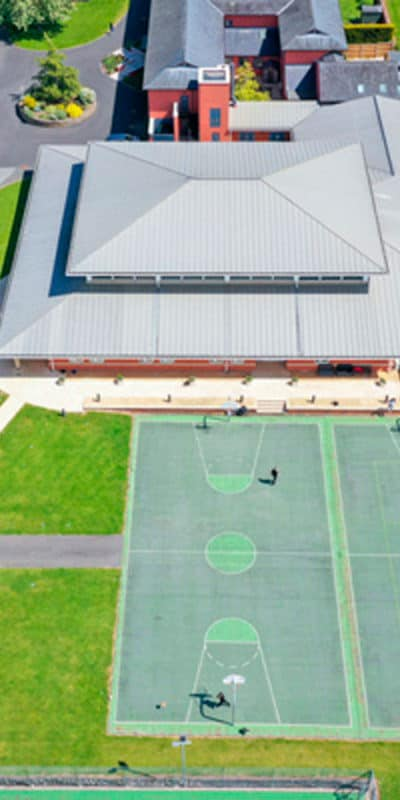 Aerial footage of Concord College School and Tennis Courts