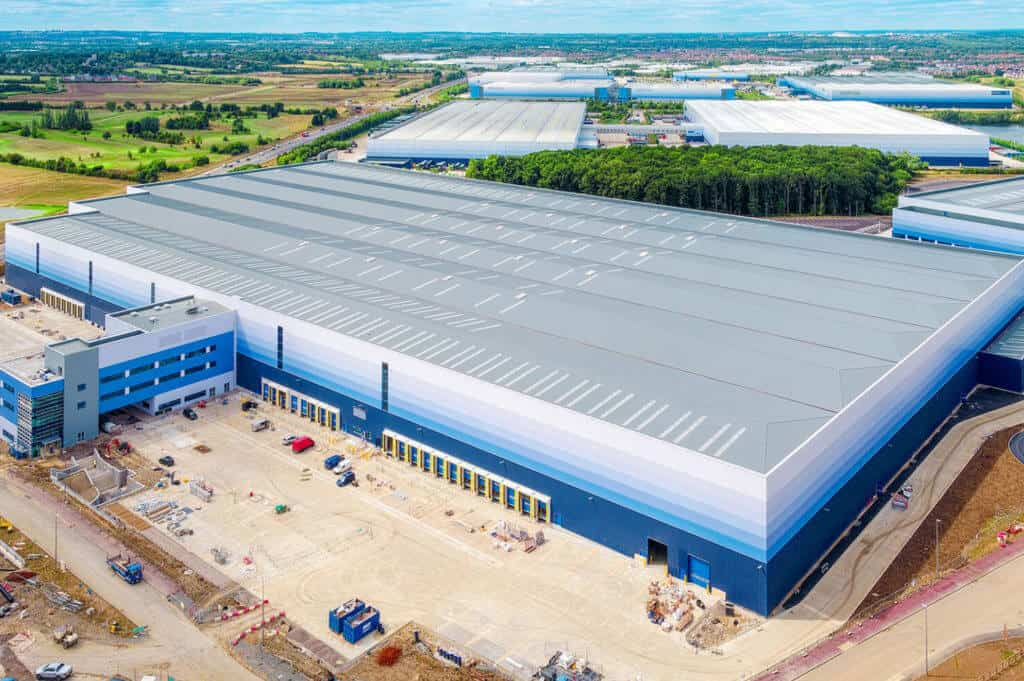 Aerial imaging showing warehouse progress photography