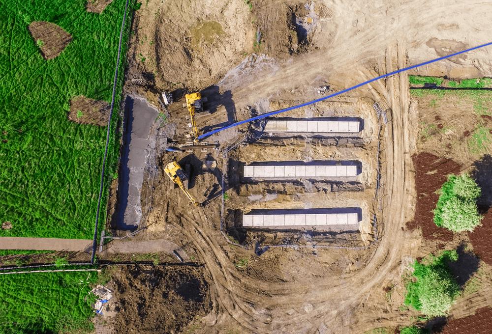 Live footage of construction site progress