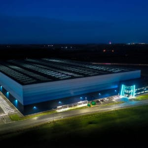 Large warehouse construction project aerial images