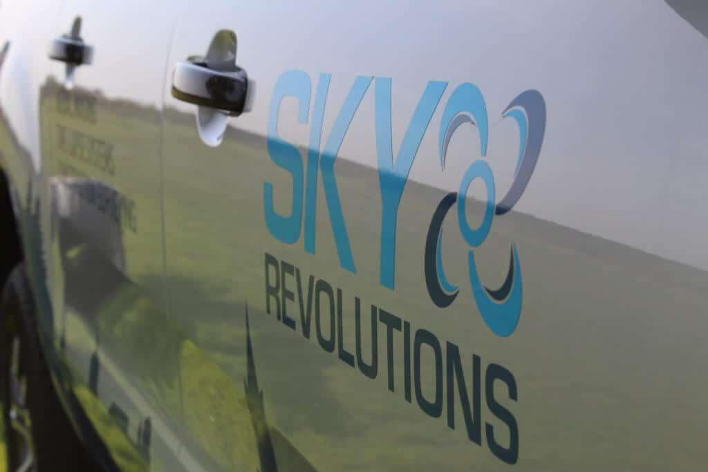 sky revolutions logo on van