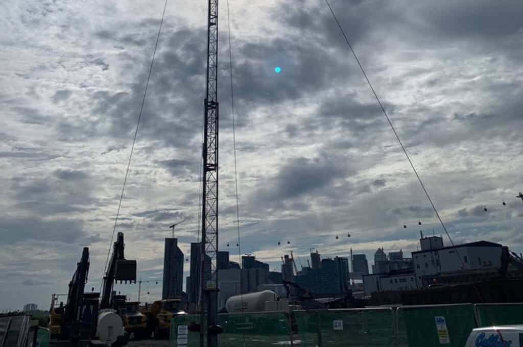 time lapse mast set up over city